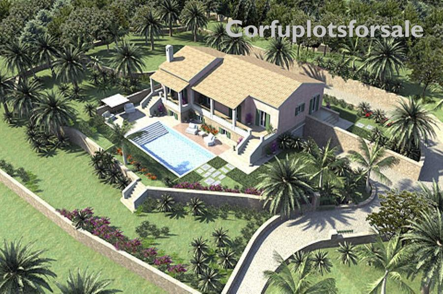 Mansion off plan with interior pool at the top of a hill