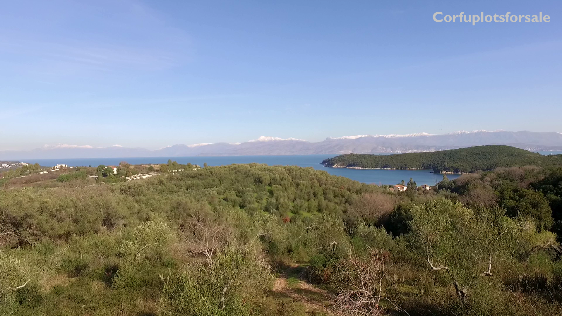 View to Avlaki and Erimitis plot for sale close to the beach